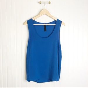 Petticoat alley L sheer sleeveless blue blouse